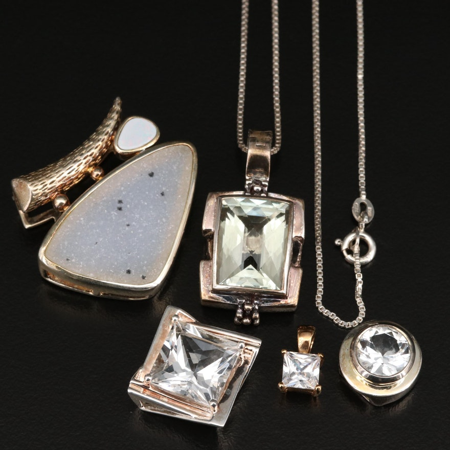 Necklace and Pendants with Michael Dawkins, Sterling, Opal and Prasiolite