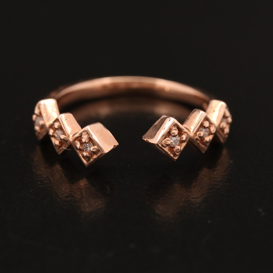 14K Rose Gold Diamond Ring with Geometric Design