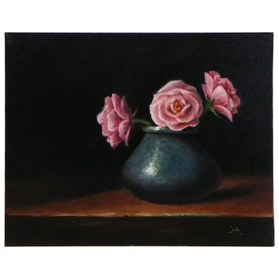 "Houra H. Alghizzi Still Life Oil Painting ""English Roses in Blue Vase,"" 2020"