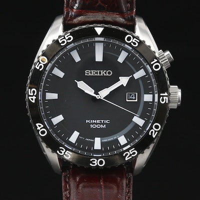 Stainless Steel Seiko Kinetic 100 Meters with Date Wristwatch