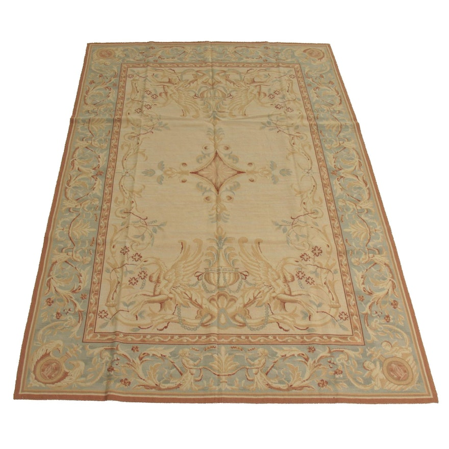 6' x 8'10 Handmade French Aubusson Style Needlepoint Rug