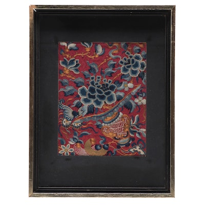 Chinese Embroidered Silk Panel with Peonies