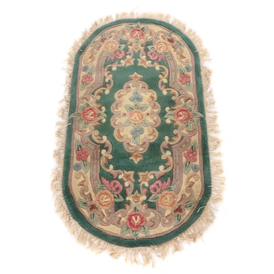 2'7 x 4'6 Hand-Knotted Chinese Sculpted Oval Rug