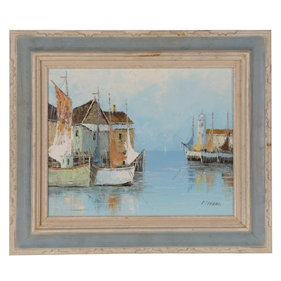 Seaport Oil Painting, Mid 20th Century