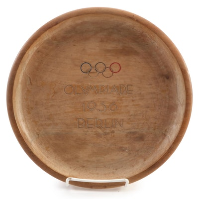 1936 Berlin Olympics Turned Wood Souvenir Plate