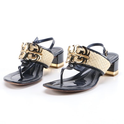 Tory Burch Natural Straw and Navy Blue Patent Leather Block Heel Sandals
