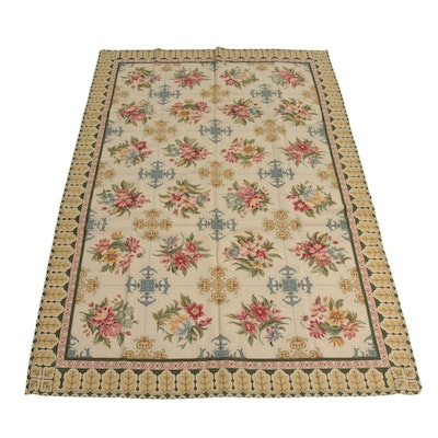 6'1 x 8'10 Handwoven French Aubusson Style Rug