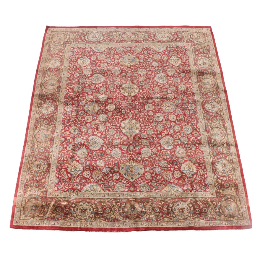 7'10 x 9'9 Hand-Knotted Indian Mahal Wool Rug