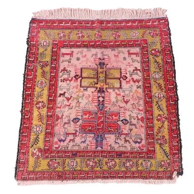 3'6 x 4'6 Handwoven Soumak Pictorial Wool Rug