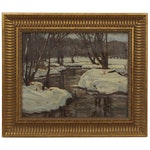 Julius Maximilian Delbos Winter Landscape Oil Painting, Early 20th Century