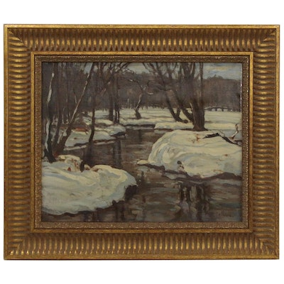 Julius Maximilian Delbos Winter Landscape Oil Painting, Early 20th Century