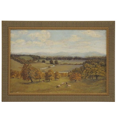 Oil Painting of Pasture, Circa 1900