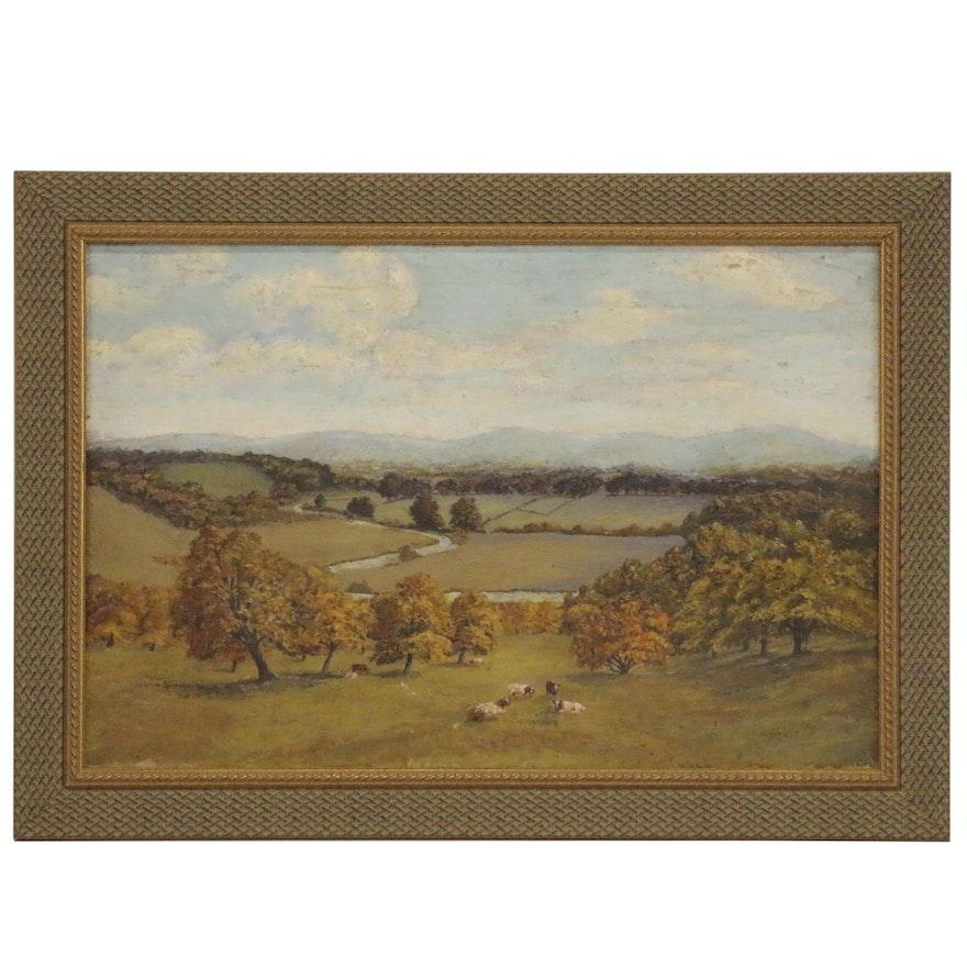 Oil Painting of Pasture, Circa 1900
