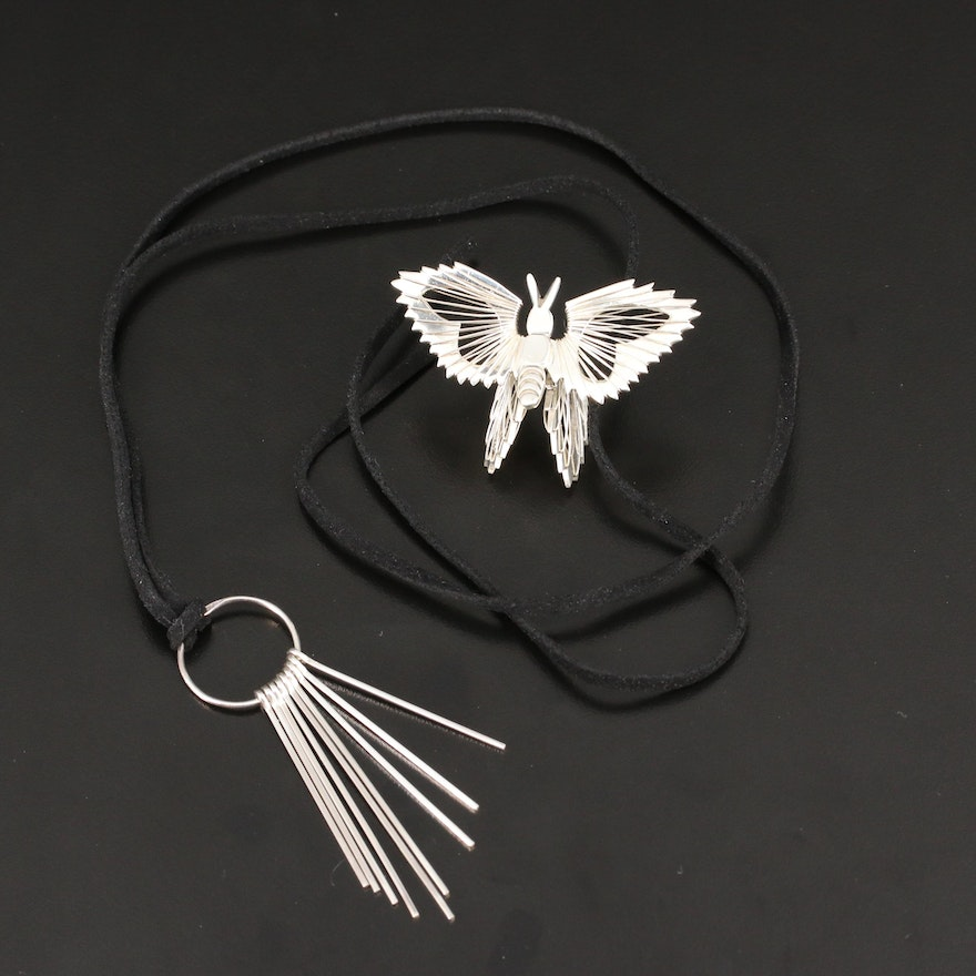 Sterling Fringe Bar Pendant Necklace and Dimensional Insect Brooch