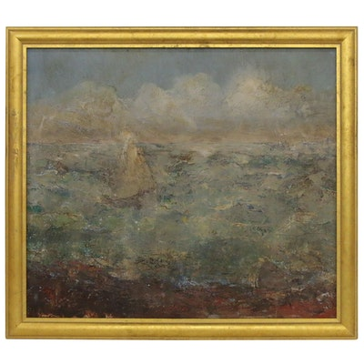 Ruby Stone Markham Oil Landscape Painting, Mid 20th Century