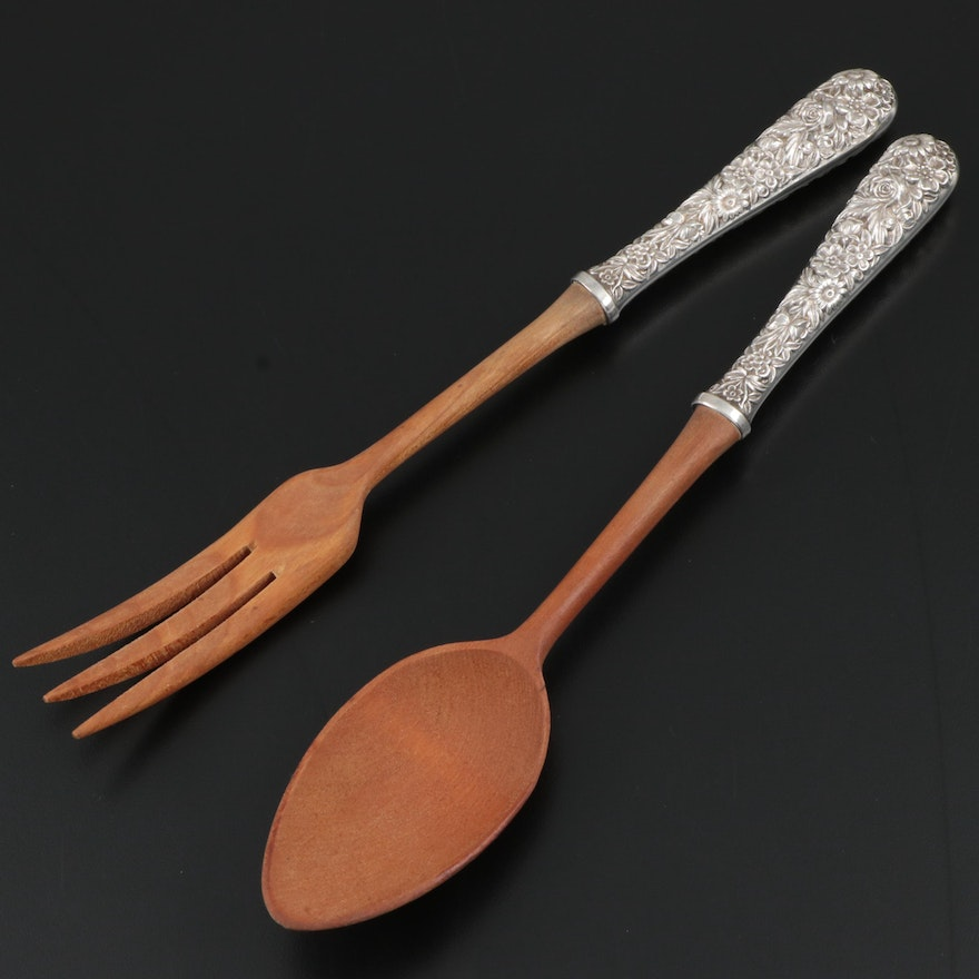 Repoussé Sterling Silver Handled Salad Servers