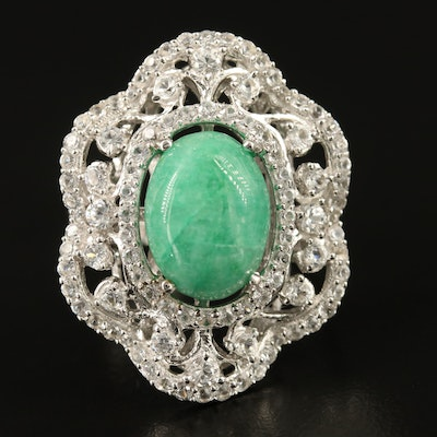 Sterling Silver Emerald and Sapphire Ring with Scalloped Edge