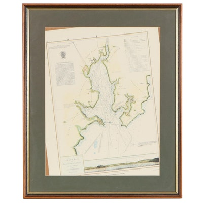 UK Hydrographic Office Offset Lithograph Map of Carrick Road & Falmouth Harbour