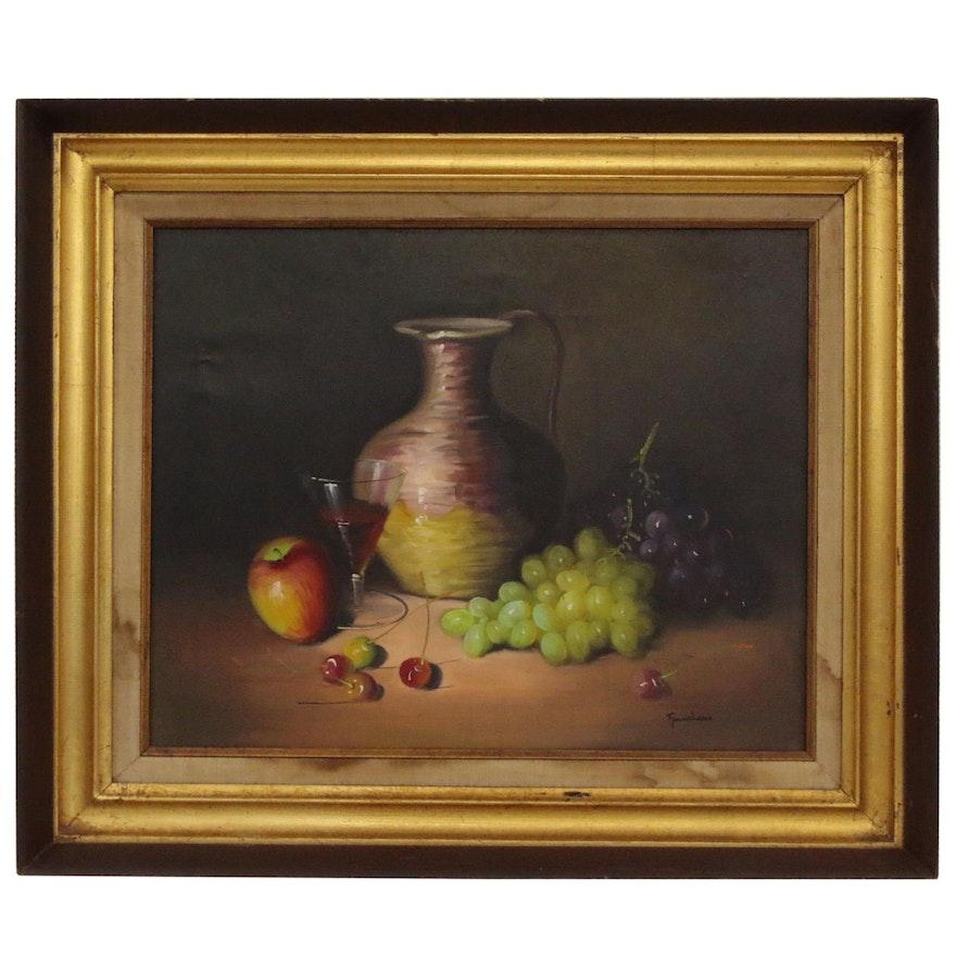 Frank Lean Oil Painting Still Life, Mid 20th Century