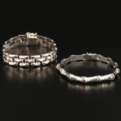 Sterling Silver Panther and Bamboo Link Bracelets