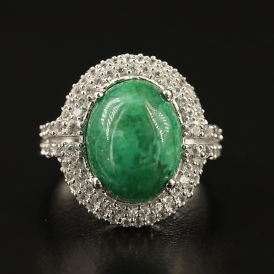 Sterling Silver Emerald and Sapphire Ring
