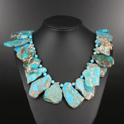 Blue Jasper Slab Necklace with Sterling Clasp