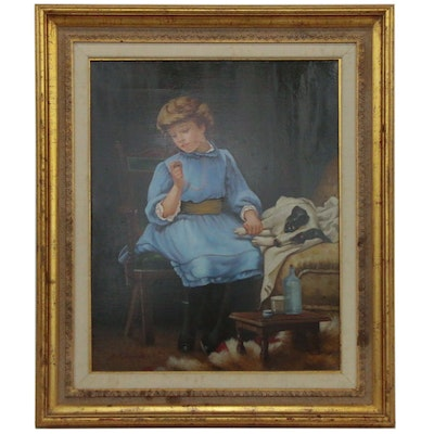 Genre Oil Painting of Young Girl With Dog, 20th Century