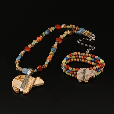 Western Relios Fetish Bear Necklace and Bracelet with Jasper and Calcite