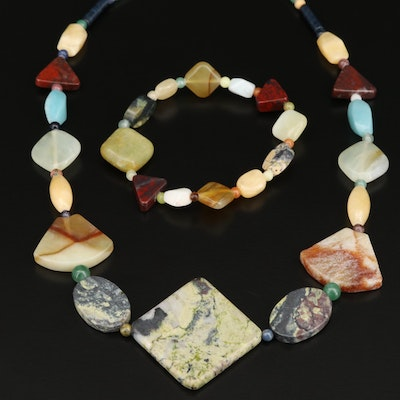 Aquamarine, Red Jasper and Quartzite Bracelet and Necklace with Sterling Clasp