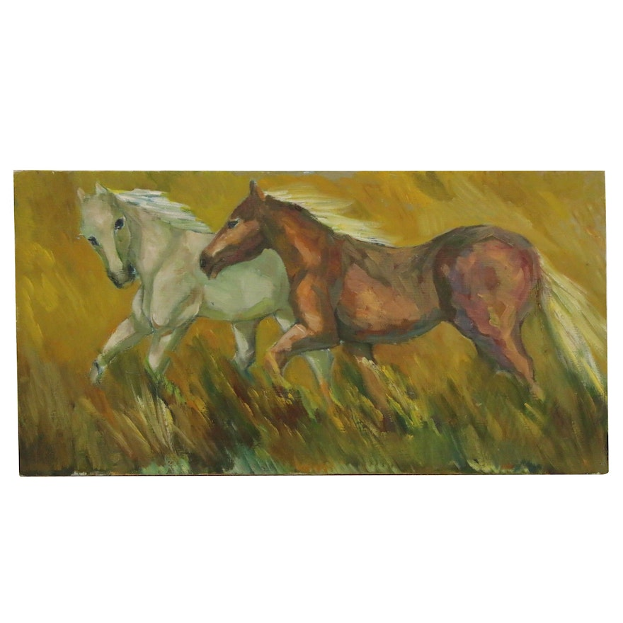 Oil Painting of Horses, 21st Century
