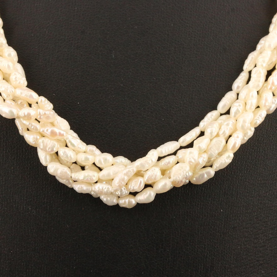 Pearl Torsade Necklace with Double Headed Dragon Clasp Featuring Rhinestone Eyes
