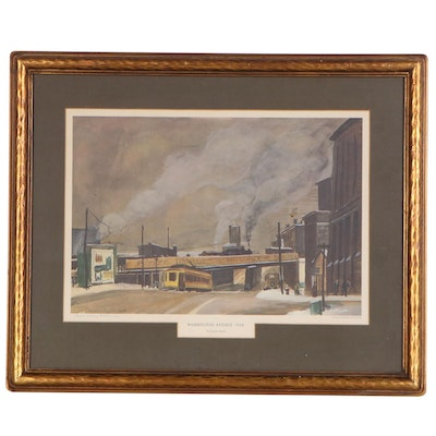 """Cameron Booth Offset Lithograph """"Washington Avenue"""", Mid to Late 20th Century"""