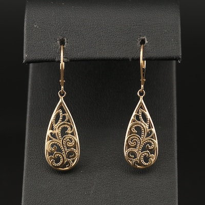 14K Scroll Motif Earrings