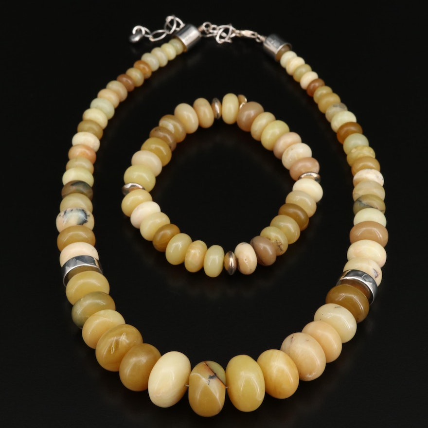 Desert Rose Trading Sterling Serpentine Necklace and Flexible Bracelet