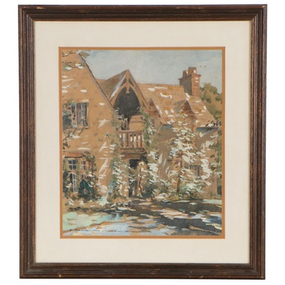 Ernest Cramer Watercolor Painting of Architectural Scene, Early 20th Century