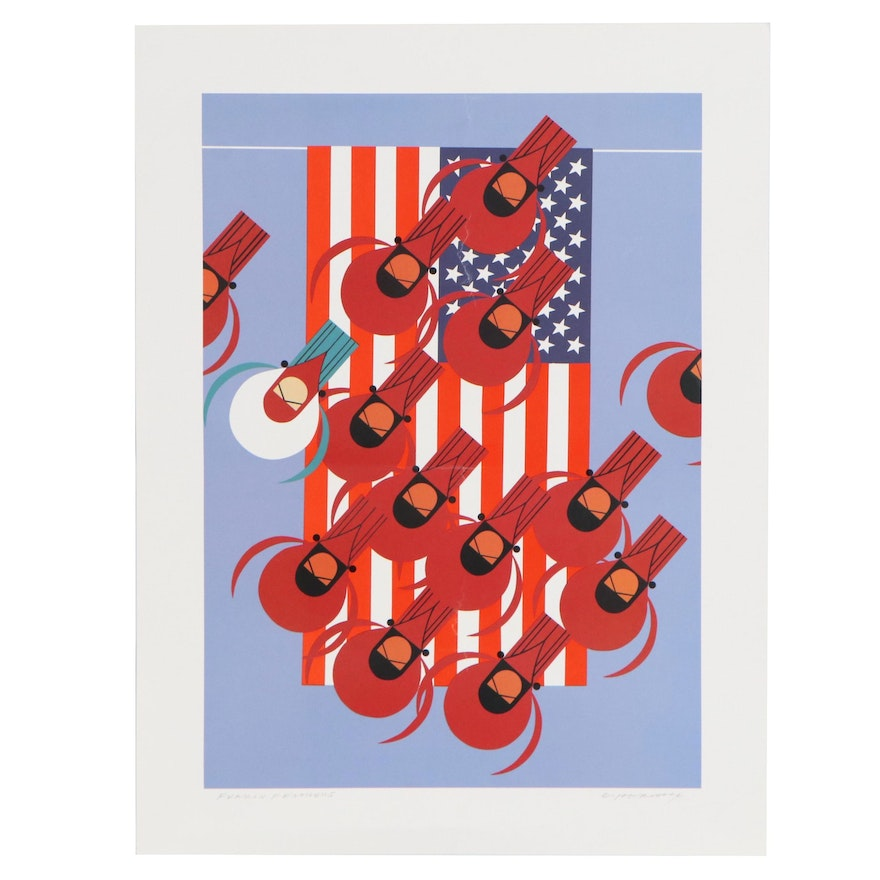 """Charley Harper Offset Lithograph """"Furrin Feathers"""""""