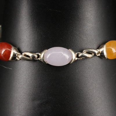 Sterling Silver Multi-Colored Jadeite Link Bracelet
