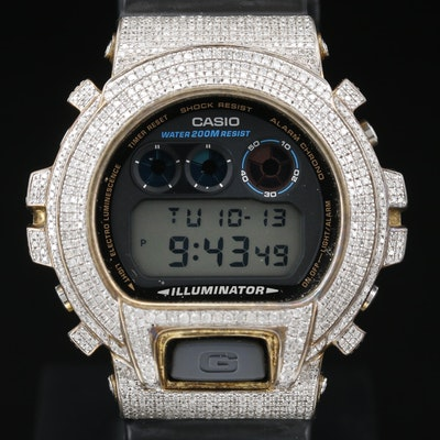 Iced Out Casio G - Shock 3.50 CTW Diamond Digital Quartz Wristwatch