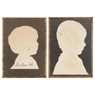 Paper Cutout Silhouette Portraits, Early 20th Century