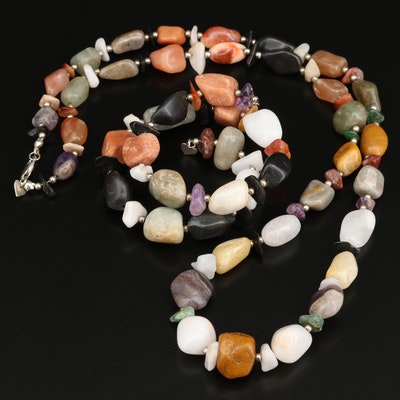 Desert Rose Trading Necklace and Wrap Bracelet with Jasper, Agate and Amethyst