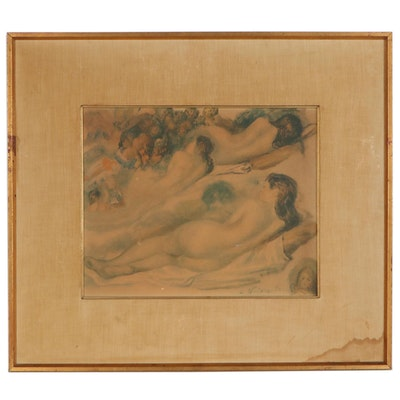 Chalk Manner Lithograph Studies of the Female Nude, Late 19th Century
