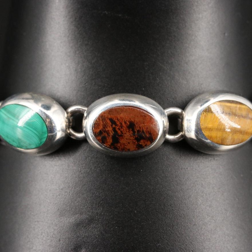 Sterling Silver Tiger's Eye, Mahogany Obsidian and Malachite Oval Link Bracelet