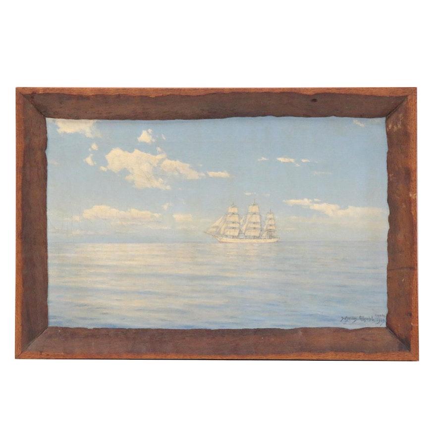 Hugo Schnars-Alquist Nautical Oil Painting, 1919