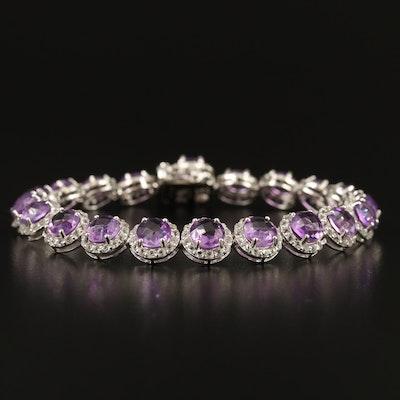 Sterling Amethyst Link Bracelet with Topaz Halos