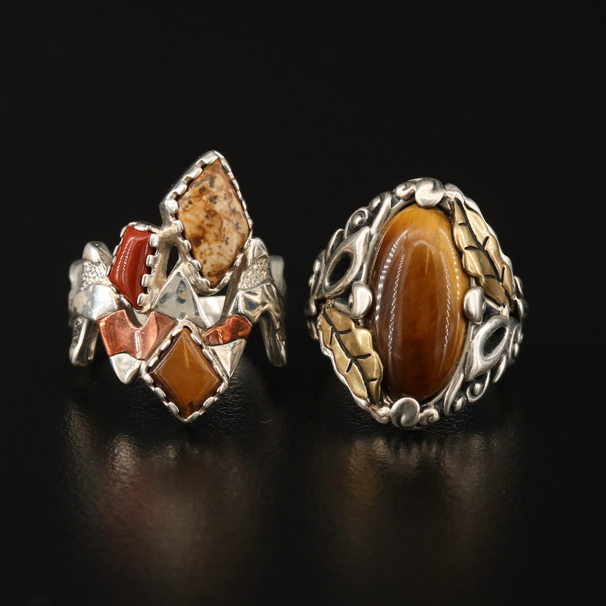 Carolyn Pollack for Relios Sterling Silver Rings with Tiger's Eye and Jasper
