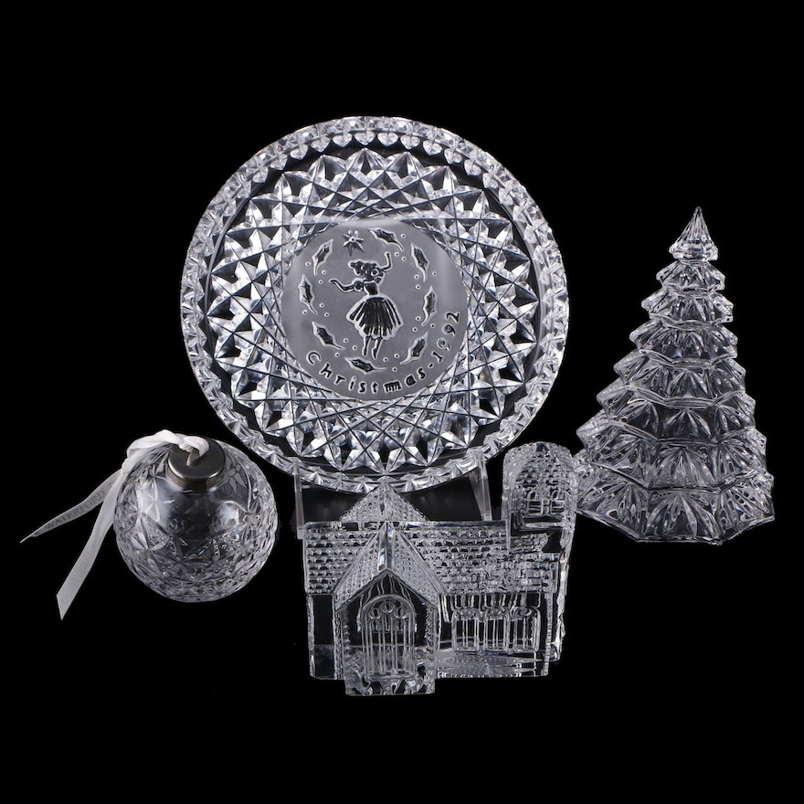 Waterford Crystal Christmas Tree, Church, Ornament, and Annual Christmas Plate