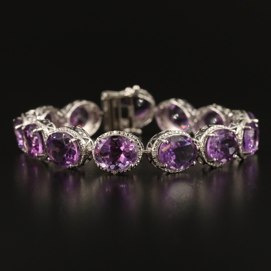 Sterling Silver Amethyst Link Bracelet with Diamond Halos