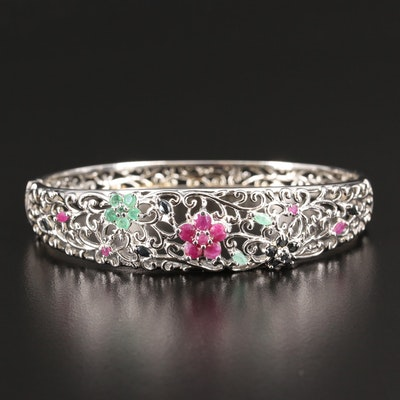 Sterling Silver Ruby, Emerald and Sapphire Floral Motif Bangle