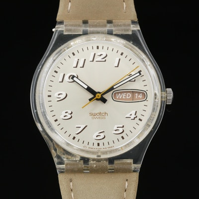 1998 Swatch Sanddune Clear Plastic Quartz Wristwatch