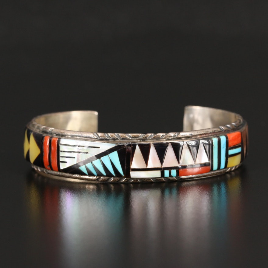 Earlene Bowannie, Zuni Sterling Coral, Turquoise and Mother of Pearl Bracelet